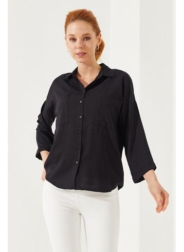 Reyon  Kadın Oversize Gömlek Beyaz Siyah